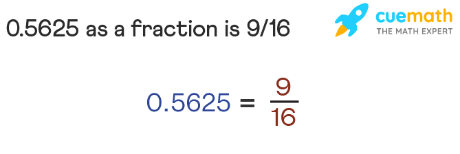 0.5625 as a fraction is 9/16