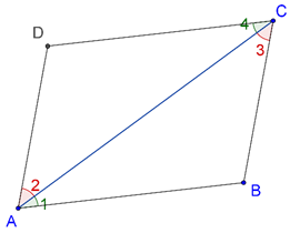 Parallelogram with one diagonal drawn