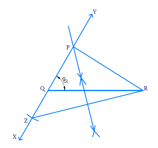Construct a triangle PQR in which QR = 6cm, Q = ∠60° and PR - PQ = 2cm.
