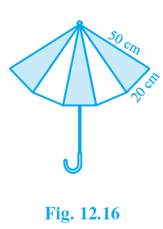 An umbrella is made by stitching 10 triangular pieces of cloth of two different colors (See Fig. 12.16), each piece measuring 20 cm, 50 cm and 50 cm. How much cloth of each color is required for the umbrella?