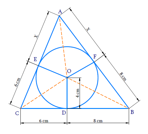 A triangle ABC is drawn to circumscribe a circle of radius 4 cm such that the segments BD and DC into which BC is divided by the point of contact D are of lengths 8 cm and 6 cm respectively (see Fig. 10.14). Find the sides AB and AC.
