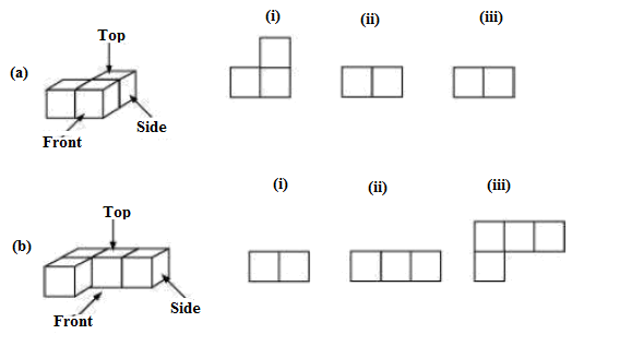 For each given solid, identify the top view, front view, side view
