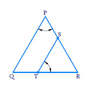 S and T are points on sides PR and QR of ∆PQR such that ∠P = ∠RTS. Show that ΔRPQ ~ ΔRTS
