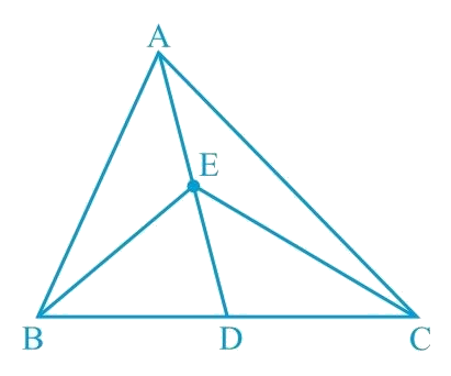 In Fig.9.23,E is any point on median AD of a ∆ ABC. Show that ar (ABE) = ar (ACE).