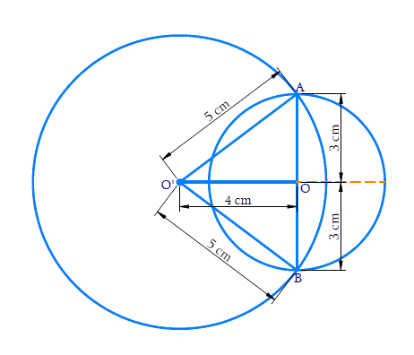 Two circles of radii 5 cm and 3 cm intersect at two points and the distance between their centers is 4 cm. Find the length of the common chord.