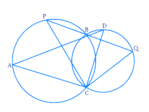 Two circles intersect at two points B and C. Through B, two line segments ABD and PBQ are drawn to intersect the circles at A, D, P and Q respectively. Prove that ∠ACP = ∠QCD