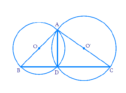 If circles are drawn taking two sides of a triangle as diameters, prove that the point of intersection of these circles lie on the third side.