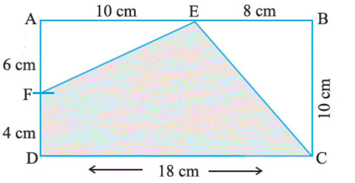 In the following figures, find the area of the shaded portions: