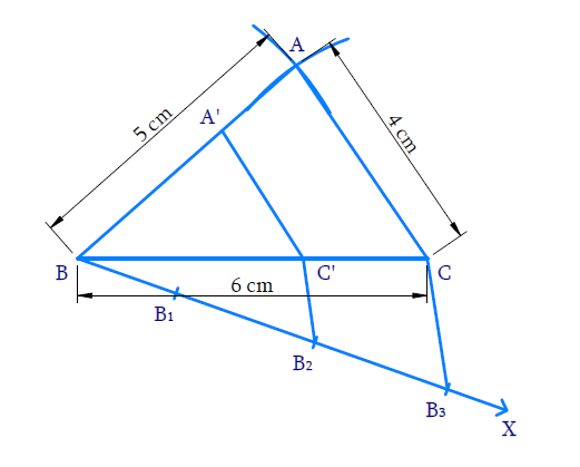 Construct a triangle of sides 4 cm, 5 cm and 6 cm