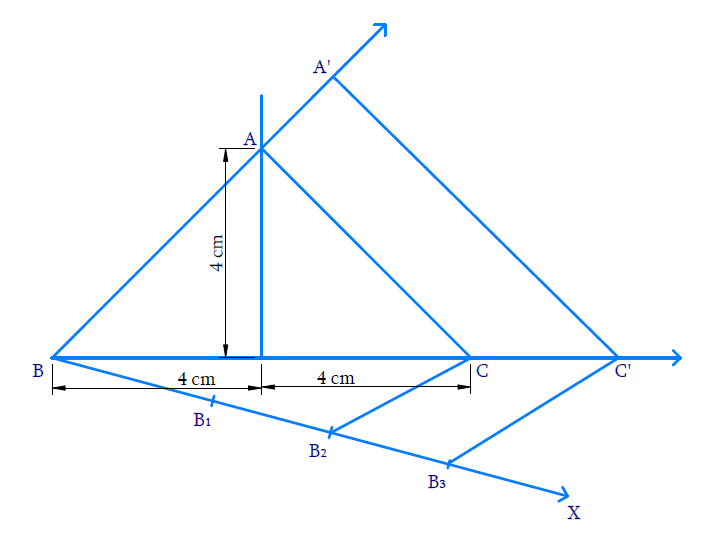 Construct an isosceles triangle whose base is 8