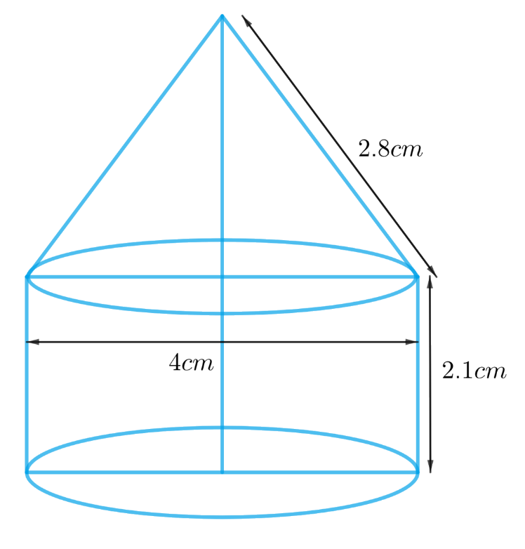 A tent is in the shape of a cylinder surmounted by a conical top. If the height and diameter of the cylindrical part are 2.1 m and 4 m respectively, and the slant height of the top is 2.8 m, find the area of the canvas used for making the tent. Also, find the cost of the canvas of the tent at the rate of ₹ 500 per m2.