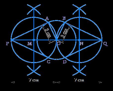 circle of radius 3 cm. Take two points P and Q