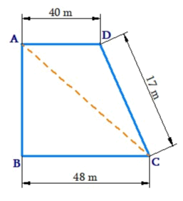 Length of the fence of a trapezium shaped field ABCD is 120 m. If BC = 48 m, CD = 17 m and AD = 40 m, find the area of this field. Side AB is perpendicular to the parallel sides AD and BC.