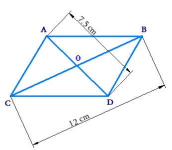 The diagonals of a rhombus are 7.5 cm and 12 cm. Find its area