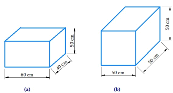There are two cuboidal boxes as shown in the adjoining figure. Which box requires the lesser amount of material to make