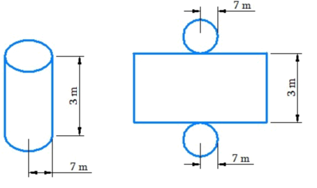A closed cylindrical tank of radius 7 m and height 3 m is made from a sheet of metal. How much sheet of metal is required?