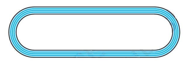 Fig. 12.26 depicts a racing track whose left and right ends are semicircular. The distance between the two inner parallel line segments is 60 m and they are each 106 m long. If the track is 10 m wide, find :