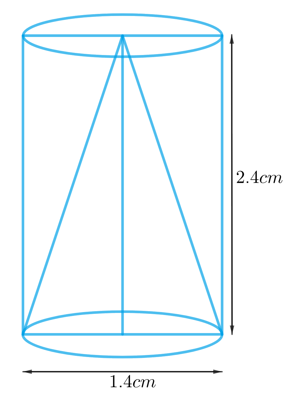 From a solid cylinder whose height is 2.4 cm and diameter 1.4 cm, a conical cavity of the same height and same diameter is hollowed out. Find the total surface area of the remaining solid to the nearest cm2.