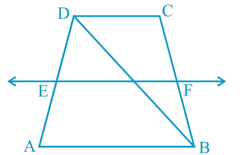 ABCD is a trapezium in which AB    DC, BD is a diagonaland E is the mid-point of AD. A line is drawn through E parallel to AB intersecting BC at F (see Fig. 8.30). Show that F is the mid-point of BC.