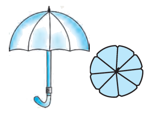 An umbrella has 8 ribs which are equally spaced (see Fig. 12.13). Assuming umbrella to be a flat circle of radius 45 cm, find the area between the two consecutive ribs of the umbrella.