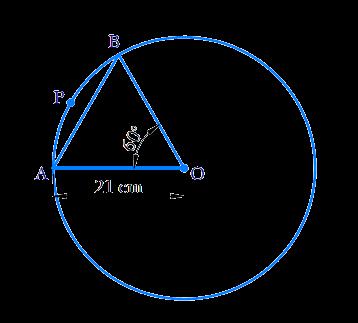 In a circle of radius 21 cm