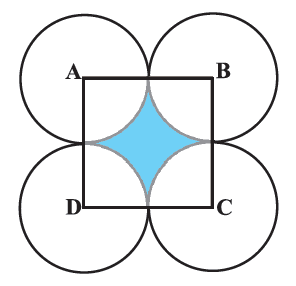 In Fig. 12.25, ABCD is a square of side 14 cm. With centres A, B, C and D, four circles are drawn such that each circle touch externally two of the remaining three circles. Find the area of the shaded region.