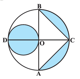 In Fig. 12.27, AB and CD are two diameters of a circle (with centre O) perpendicular to each other and OD is the diameter of the smaller circle. If OA = 7 cm, find the area of the shaded region.