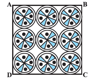 On a square handkerchief, nine circular designs each of radius 7 cm are made (see Fig. 12.29). Find the area of the remaining portion of the handkerchief.