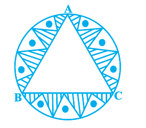 In a circular table cover of radius 32 cm, a design is formed leaving an equilateral triangle ABC in the middle as shown in Fig. 12.24. Find the area of the design.
