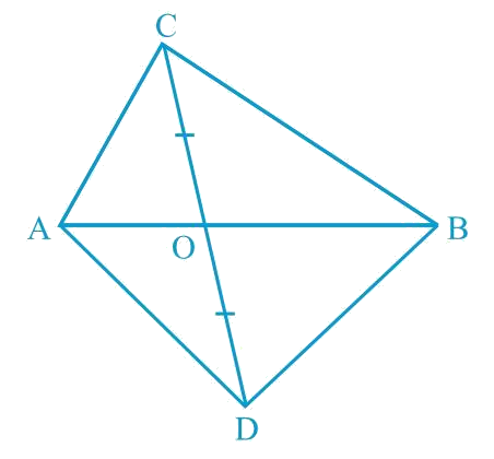 In Fig. 9.24, ABC and ABD are two triangles on the same base AB. If line- segment CD is bisected by AB at O, show that ar(ABC) = ar (ABD).