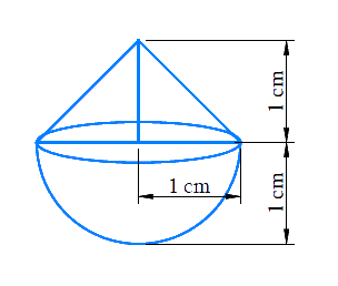 A solid is in the shape of a cone standing on a hemisphere with both their radii being equal to 1 cm and the height of the cone is equal to its radius