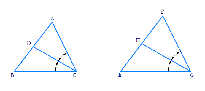CD and GH are respectively the bisectors of ∠ACB and ∠EGF such that D and H lie on sides AB and FE of ∆ABC and ∆EFG respectively. If ∆ABC ~ ∆FEG, show that: