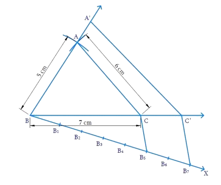 Construct a triangle with sides 5 cm, 6 cm and 7 cm