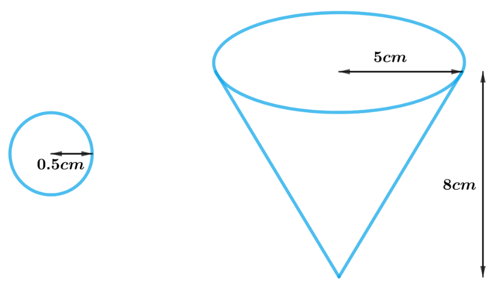 A vessel is in the form of an inverted cone. Its height is 8 cm and the radius of its top, which is open, is 5 cm