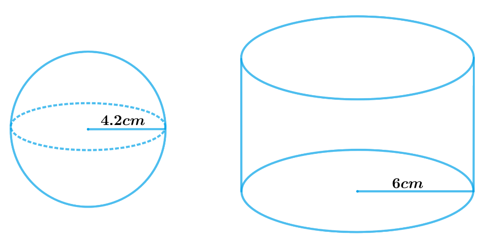 A metallic sphere of radius 4.2 cm is melted and recast into the shape of a cylinder of radius 6 cm. Find the height of the cylinder.
