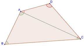 Quadrilateral with one diagonal drawn
