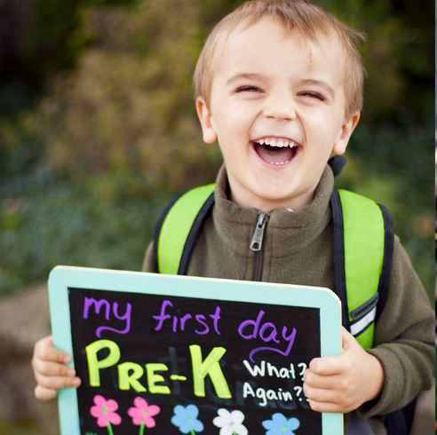 a happy child on his first day of school