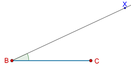 Line and ray inclined at an angle