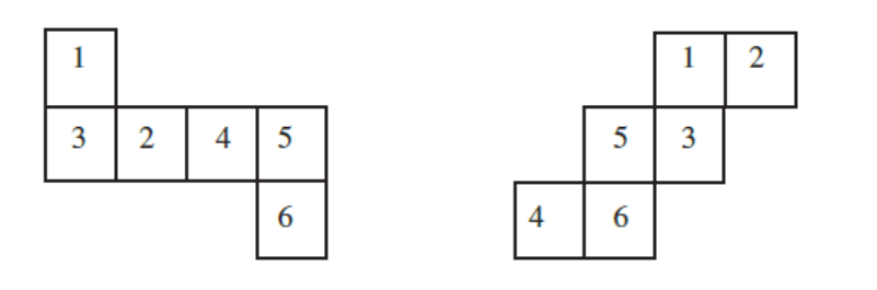 Insert suitable numbers in the blanks, remembering that the number on the opposite faces should total to 7.