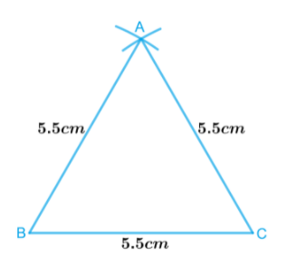 Equilateral triangle of side 5.5 cm