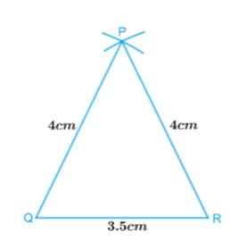 ∆PQR with PQ = 4 cm, QR = 3.5 cm and PR = 4 cm.