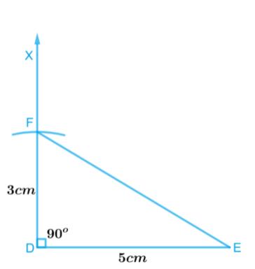 ∆DEF such that DE = 5 cm, DF = 3 cm and m∠EDF = 90°.