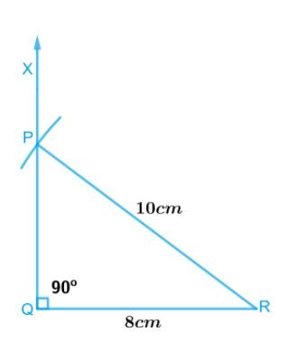 ∆PQR, where m∠Q = 90°, QR = 8cm and PR = 10 cm.