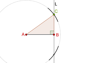 Right angled triangle and arcs