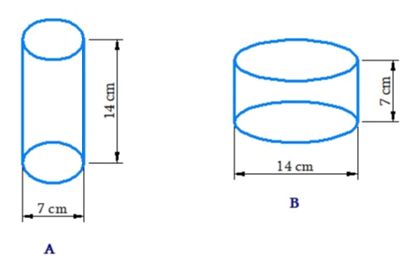 Diameter of cylinder A is 7 cm and the height is 14 cm Diameter of cylinder B is 14 cm and height is 7 cm. Without doing any calculations can you suggest whose volume is greater? Verify it by finding the volume of both the cylinders. Check whether the cylinder with greater volume also has greater surface area