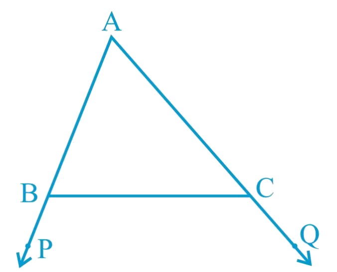 In Fig. 7.48, sides AB and AC of Δ ABC are extended to points P and Q respectively. Also, ∠PBC < ∠QCB. Show that AC > AB.