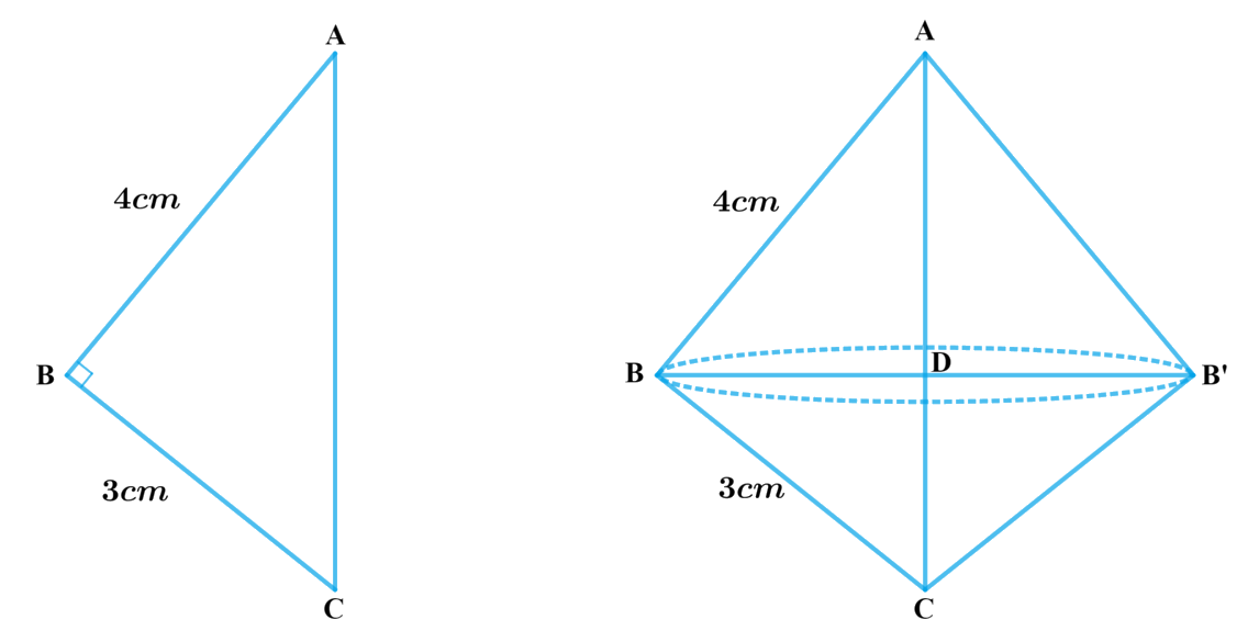 A right triangle, whose sides are 3 cm and 4 cm (other than hypotenuse) is made to revolve about its hypotenuse. Find the volume and surface area of the double cone so formed.