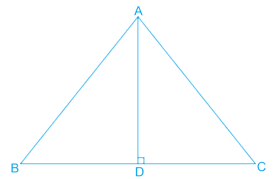 In ΔABC, AD is the perpendicular bisector of BC (see Fig. 7.30). Show that ΔABC is an isosceles triangle in which AB = AC