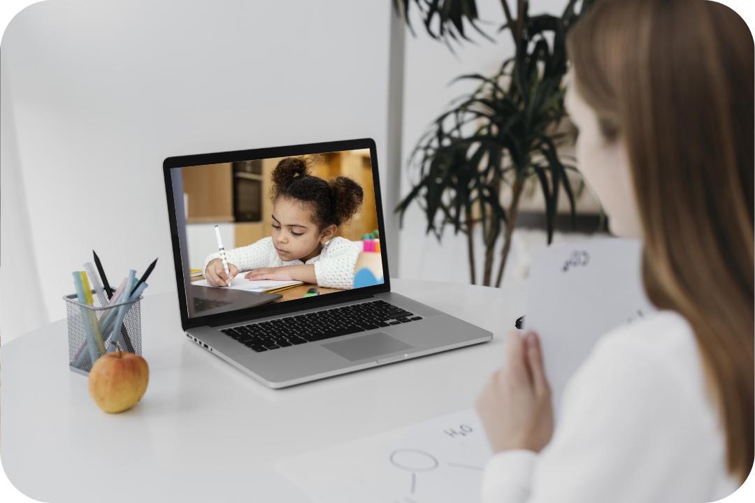 Teacher observing a child online