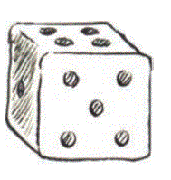 Dice are cubes with dots on each face. Opposite faces of a die always have a total of seven dots on them